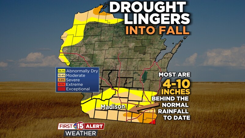 Most of southern Wisconsin is 4-10 inches behind average year-to-date rainfall.
