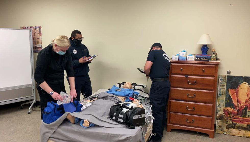 "Madison College Paramedic Academy students train using a high tech ""manikin"". (Photo: Madison..."