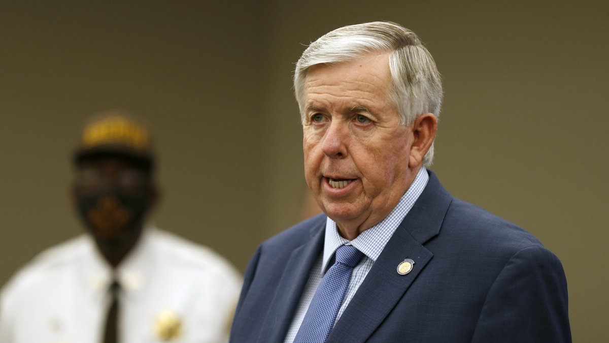 FILE - In this Aug. 6, 2020 file photo, Missouri Gov. Mike Parson speaks during a news...