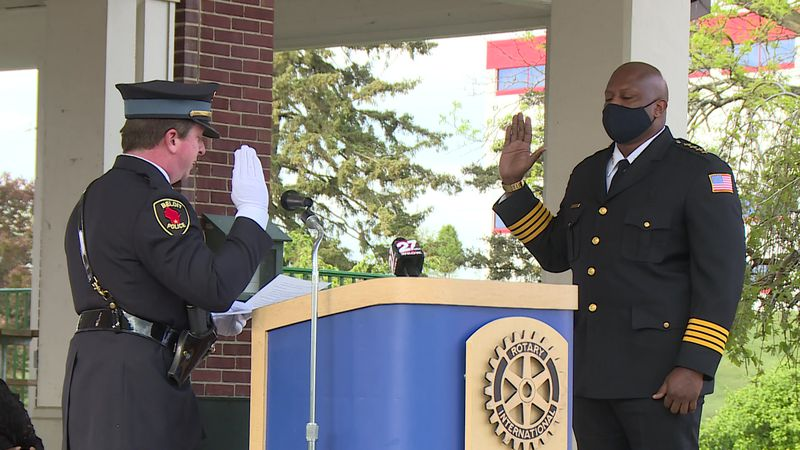 Beloit's first black police chief took his oath of office on Thursday at a public ceremony at...