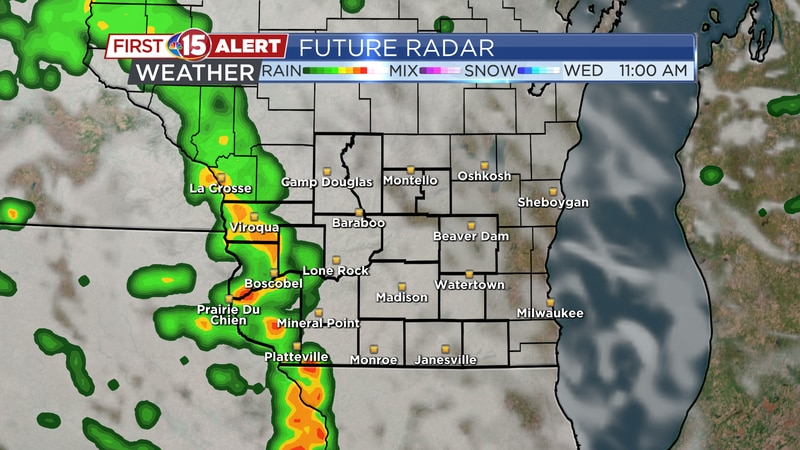 Scattered showers will move in from the SW during the late morning and early afternoon....