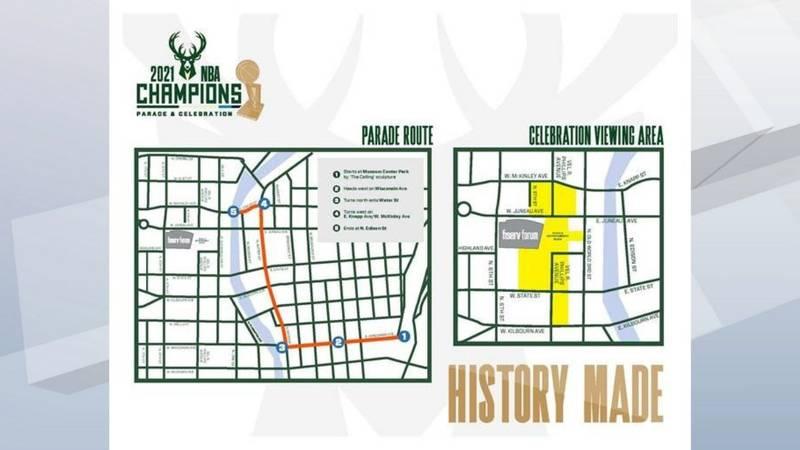 Milwaukee Bucks championship parade route.