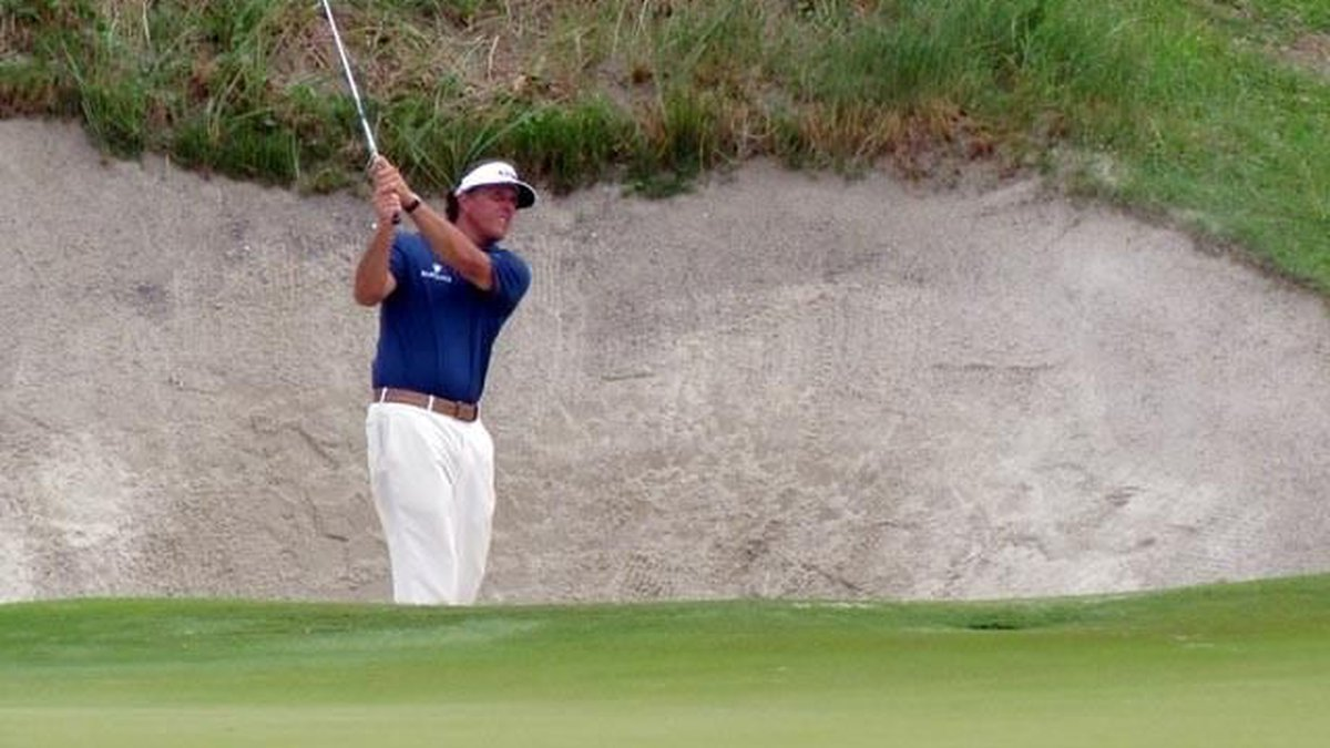 Phil Mickelson sits at even-par through two round at The Ocean Course