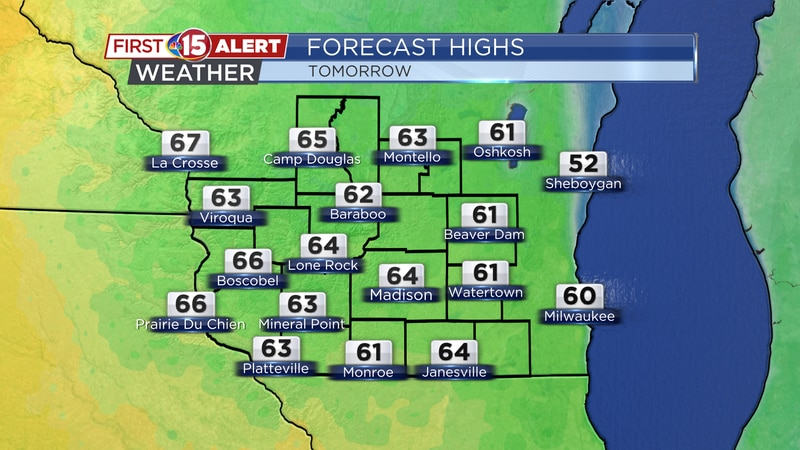 Monday highs will climb into the 60's across southern Wisconsin!