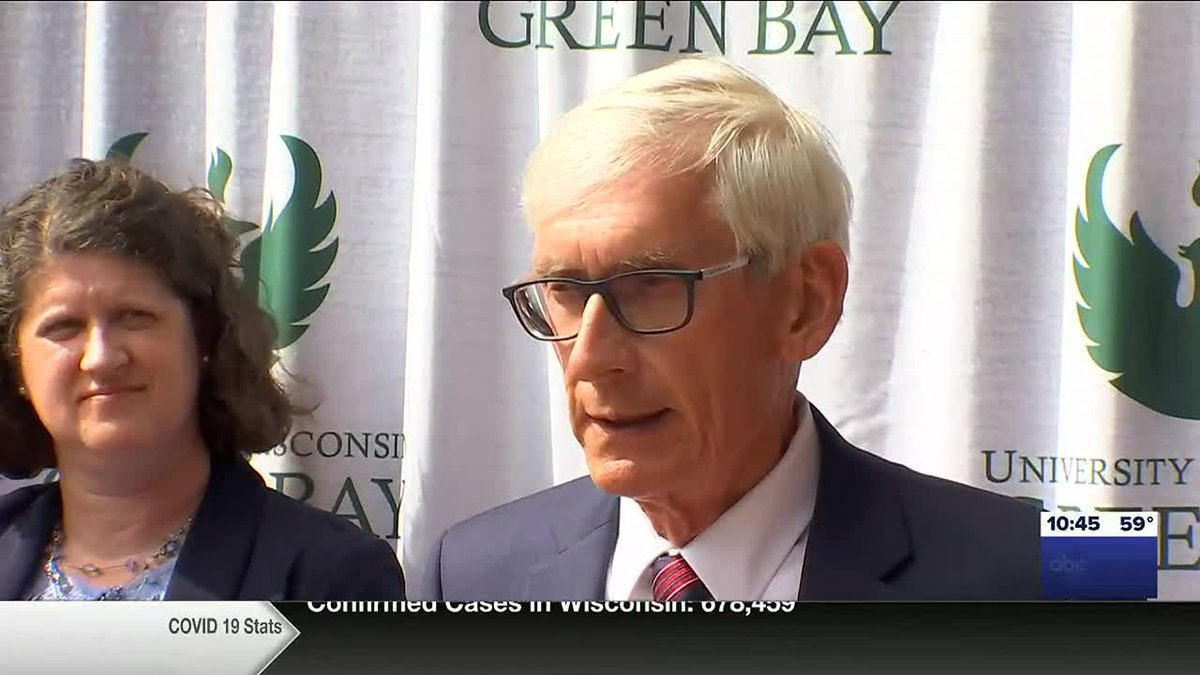 Gov. Tony Evers discusses the state budget in Green Bay, joined by Wisconsin Superintendent of...