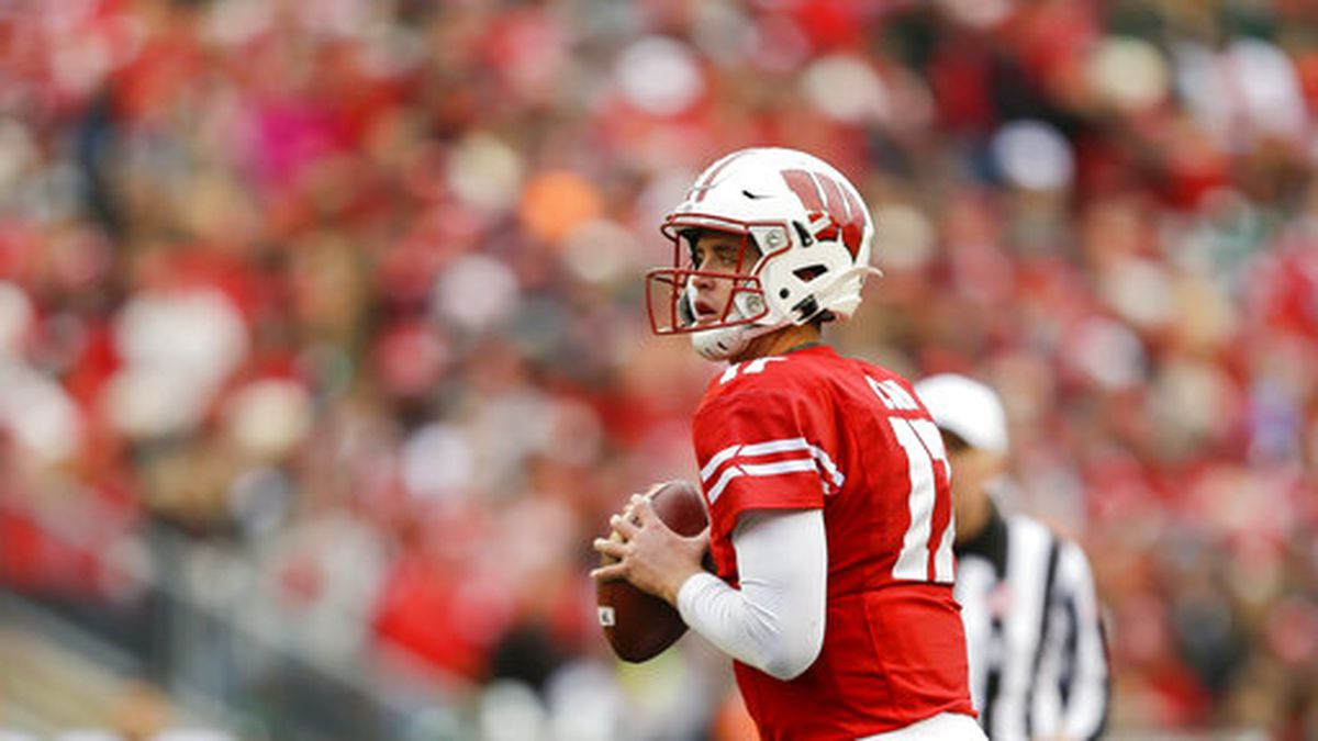 Wisconsin quarterback Jack Coan (17) during the first half of an NCAA college football game against Michigan State Saturday, Oct. 12, 2019, in Madison, Wis. (AP Photo/Andy Manis)
