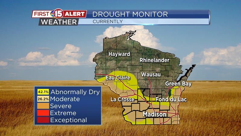 More than ¼ of the Badger State is under a Moderate Drought.