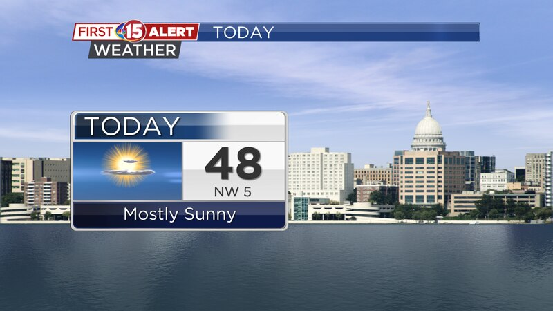 Above average temperatures and lots of sunshine are expected for both today and tomorrow.