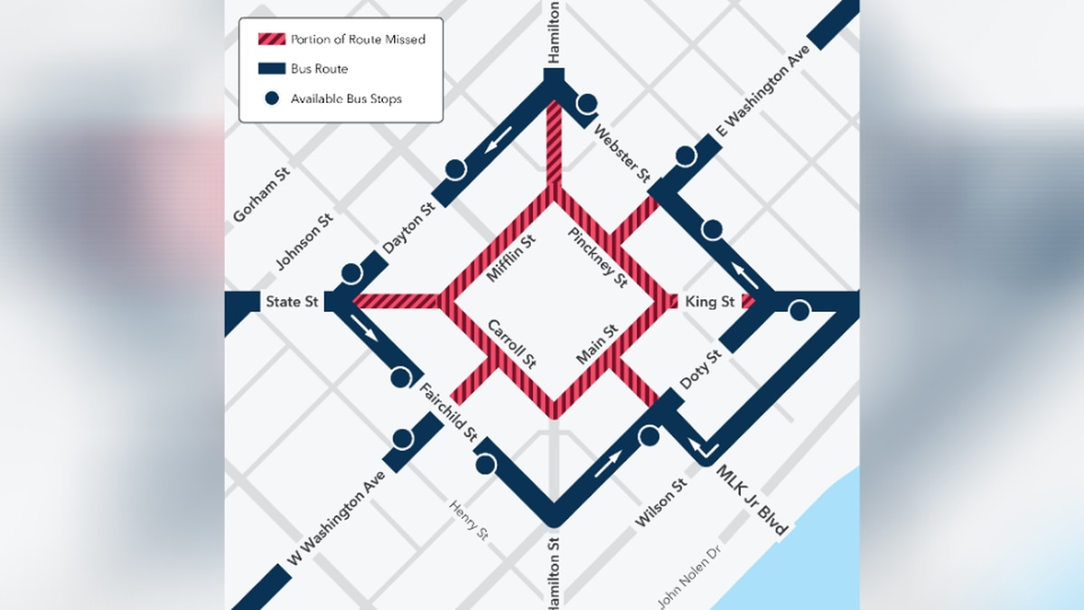 Buses detour for the Capitol Square beginning Sunday, January 17.
