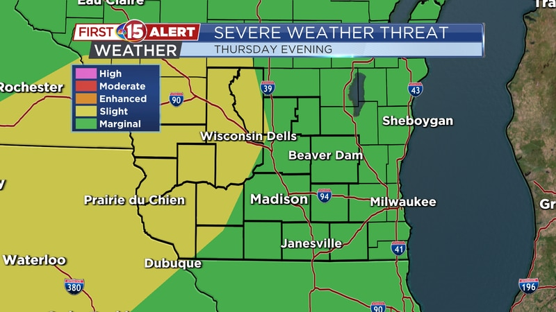 Severe Weather Threat Map - Tuesday