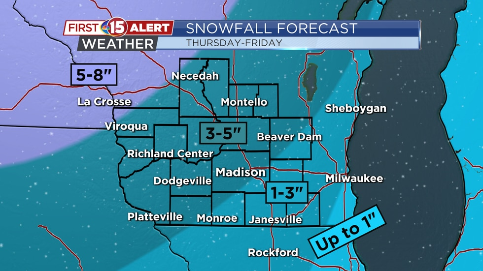 Snowfall totals will be lighter south and east of Madison. Higher totals are more likely...