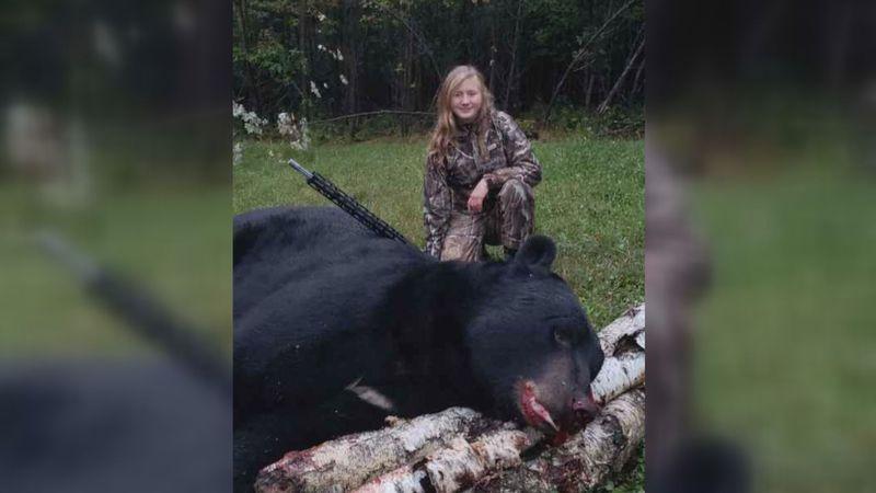 11-year-old Naiya Iraci, Kewaskum, harvested this 720 lbs. bear in Jackson County on September...