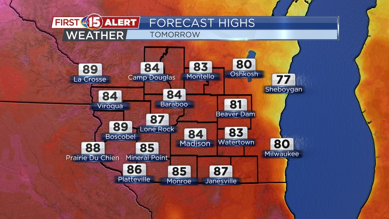 Highs climb into the 80s on Thursday afternoon. A few showers and storms are possible.
