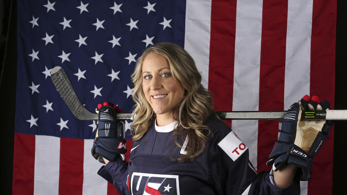 United States Olympic Winter Games Meghan Duggan, ice hockey, poses for a portrait at the 2017 Team USA Media Summit Tuesday, Sept. 26, 2017, in Park City, Utah. (AP Photo/Rick Bowmer)