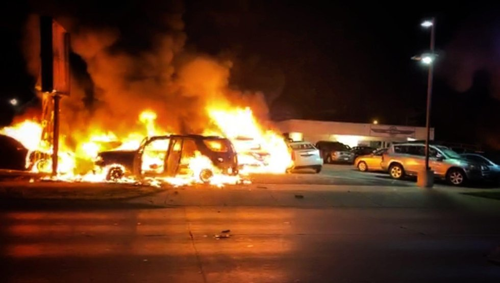 Protests erupt in Kenosha, Wisconsin, following an officer-involved shooting on Aug. 23, 2020.