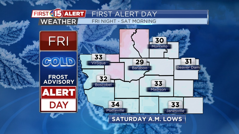 Overnight lows fall back into the upper 20s and lower 30s tonight. Frost is likely across much...