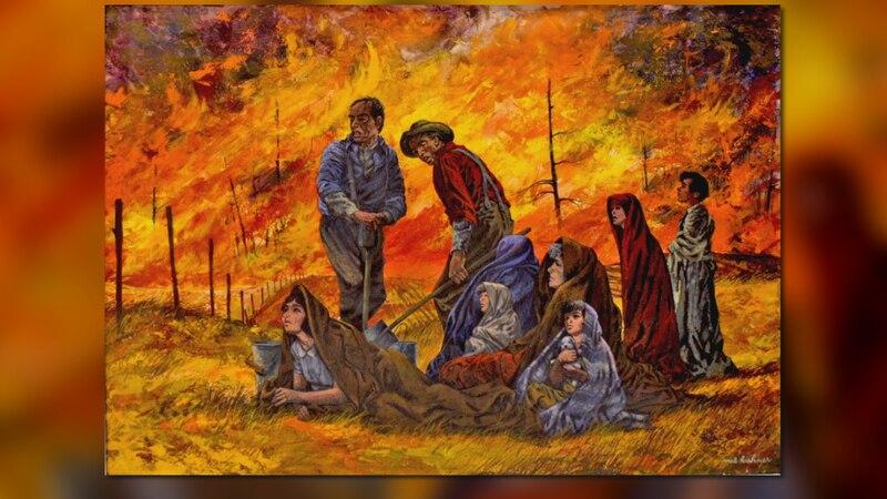 A mural inside the Peshtigo Fire Museum depicts the horror of what survivors described as a...