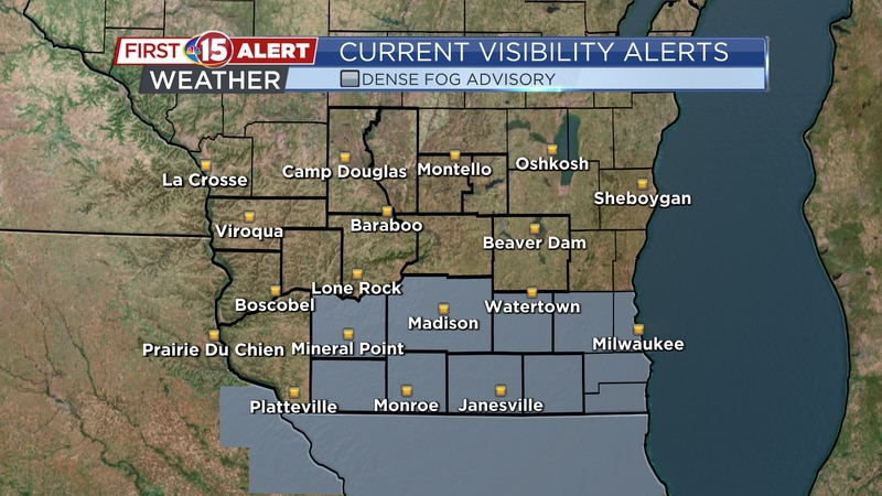 A Dense Fog Advisory is in effect for the southern part of the state until 10:00 am.