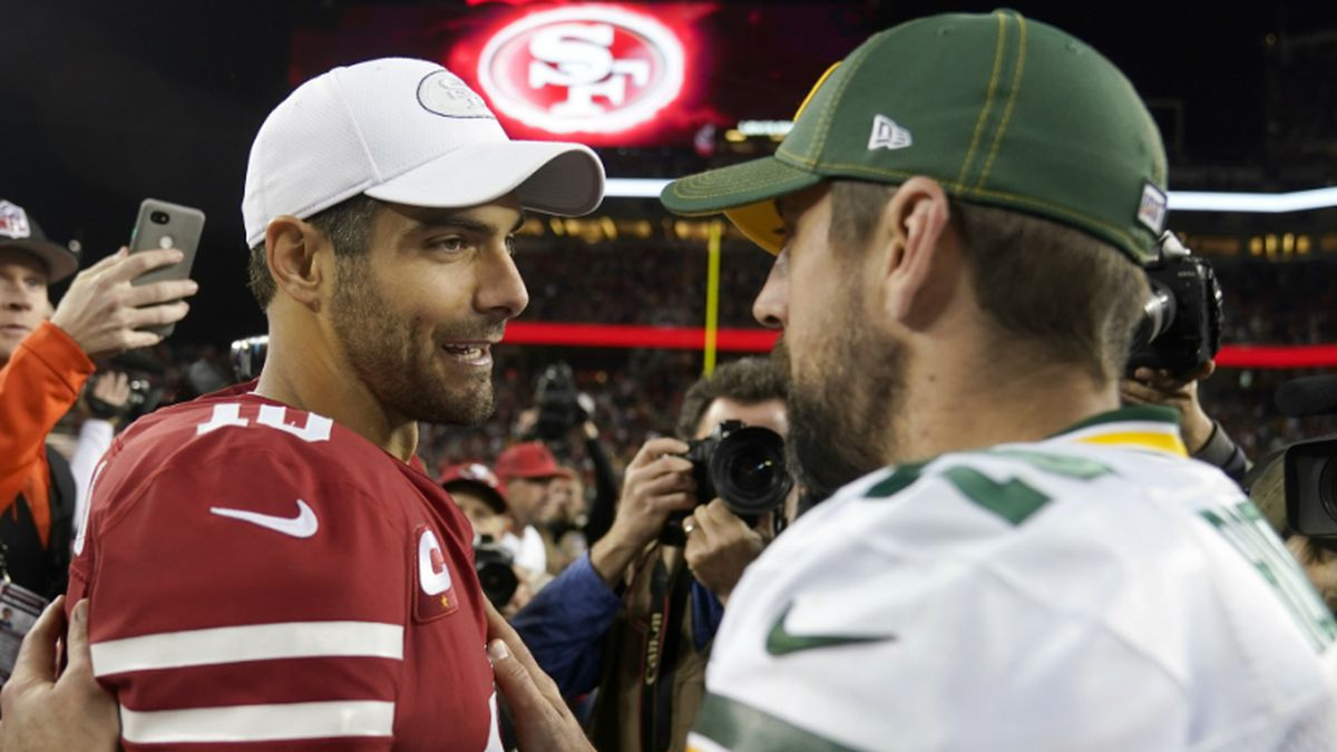 San Francisco 49ers quarterback Jimmy Garoppolo, left, greets Green Bay Packers quarterback Aaron Rodgers after an NFL football game in Santa Clara, Calif., Sunday, Nov. 24, 2019. (AP Photo/Tony Avelar)<br /><br />San Francisco 49ers quarterback Jimmy Garoppolo, left, greets Green Bay Packers quarterback Aaron Rodgers after an NFL football game in Santa Clara, Calif., Sunday, Nov. 24, 2019. (AP Photo/Tony Avelar)