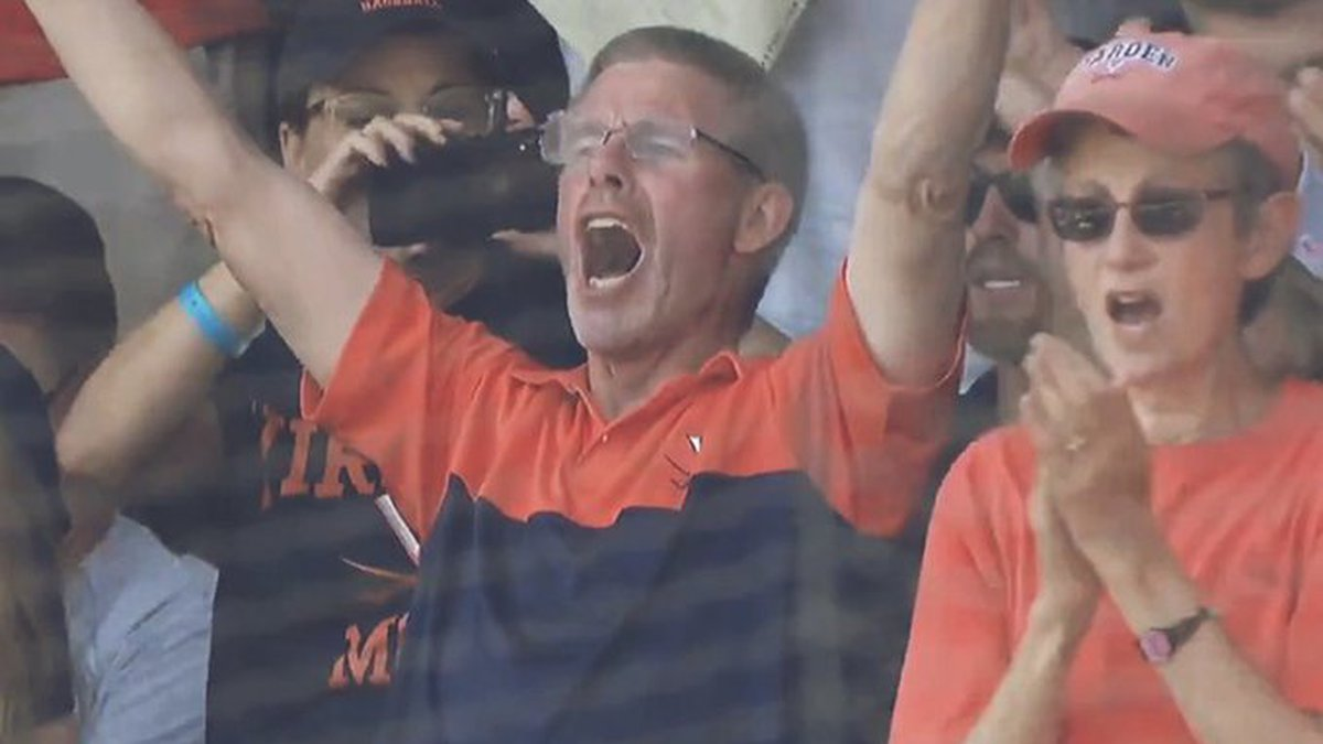 Jeff Michaels of DeForest celebrates his son, Logan hitting a home run on Father's Day.