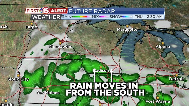 Showers spread Northward late Wednesday night into Thursday.