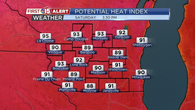 Heat index values will stay close to the air temperature thanks to gusty SW winds.
