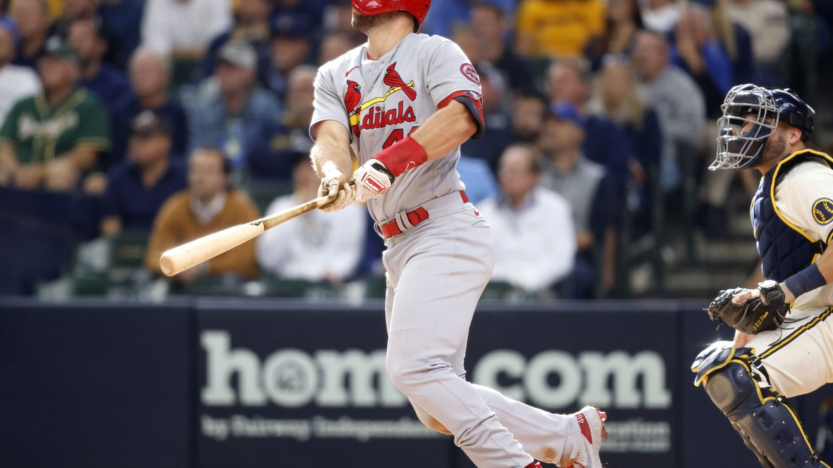 St. Louis Cardinals' Paul Goldschmidt watches his two-run home run during the seventh inning of...