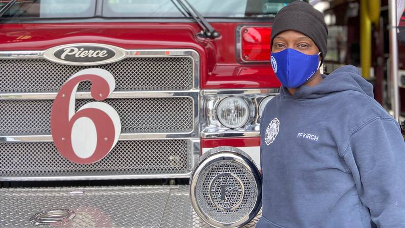 Tasha Kirch in paramedic training at Madison Fire Station 6 on West Badger Road.