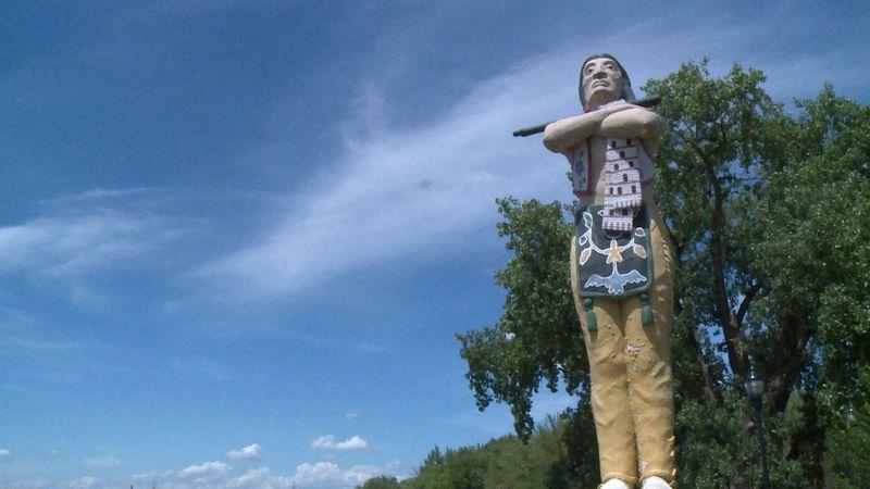 The Hiawatha Statue in La Crosse's Riverside Park.