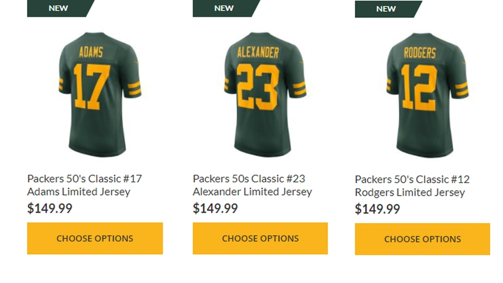 Packers new 50s-inspired uniforms are for sale on the team's website.