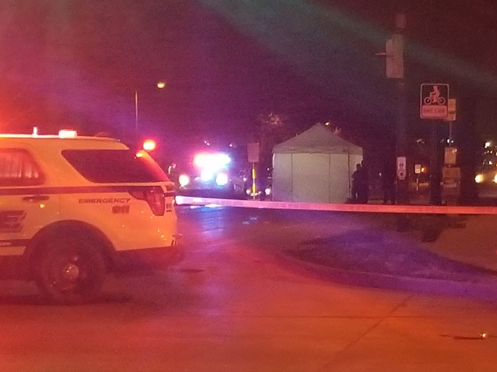 3 lanes were closed late Saturday night after a pedestrian was hit by a car.