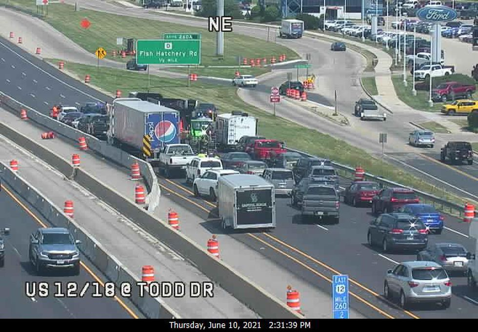 A crash on the Madison Beltline has shut down all eastbound lanes at Todd Drive.