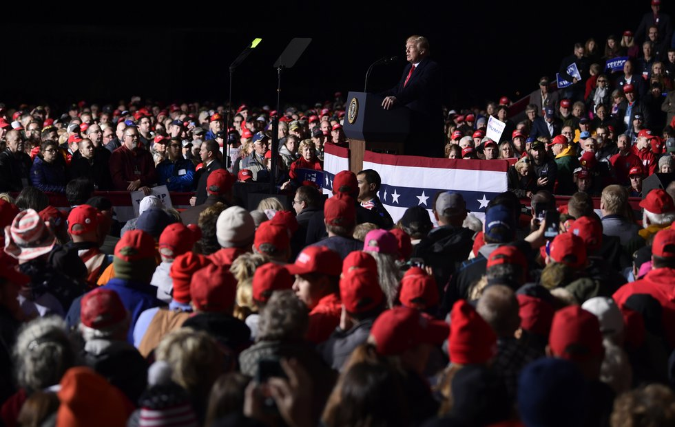 President Donald Trump speaks at a rally at Central Wisconsin Airport in Mosinee, Wis.,...