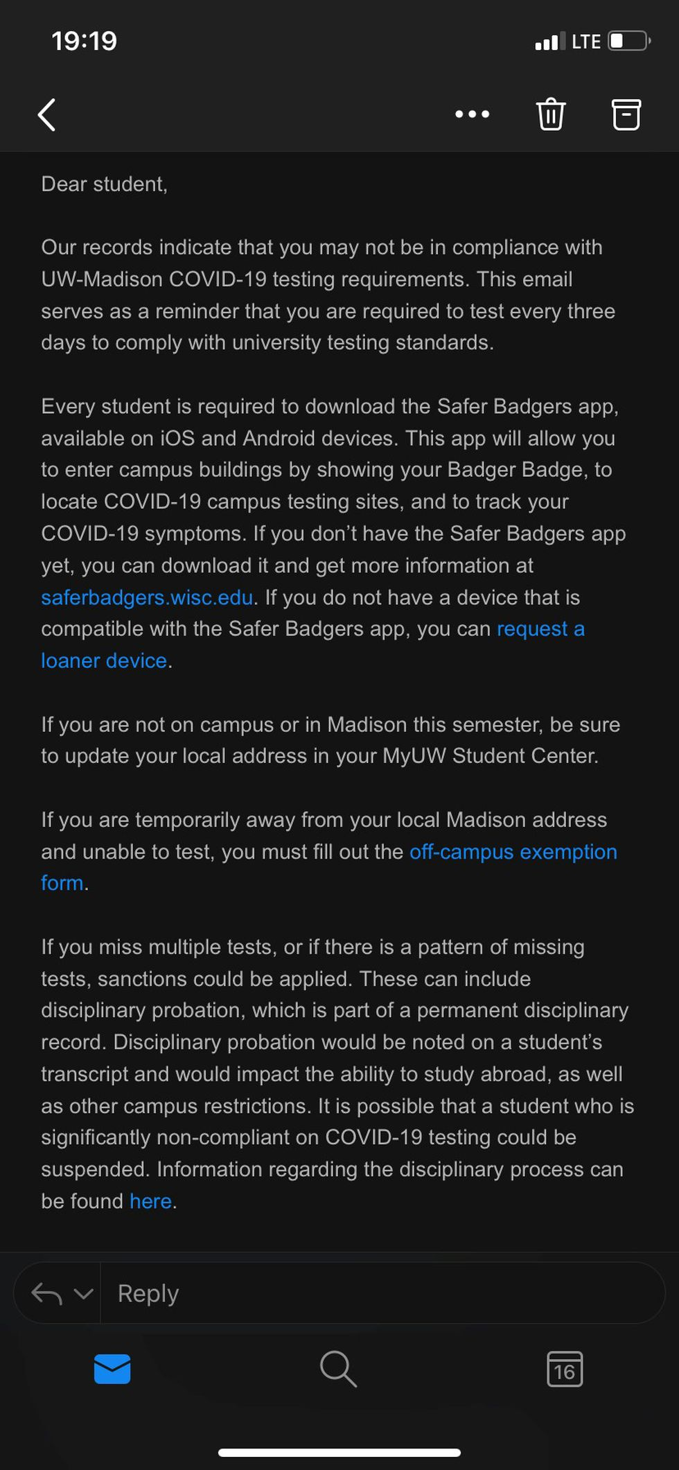 Copy of email sent to UW-Madison students regarding COVID-19 spread.