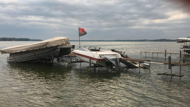 Dock on Lake Waubesa hit by storms.