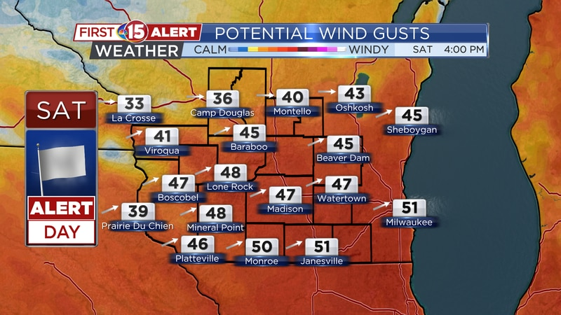 Potential Wind Gusts - Saturday 4PM