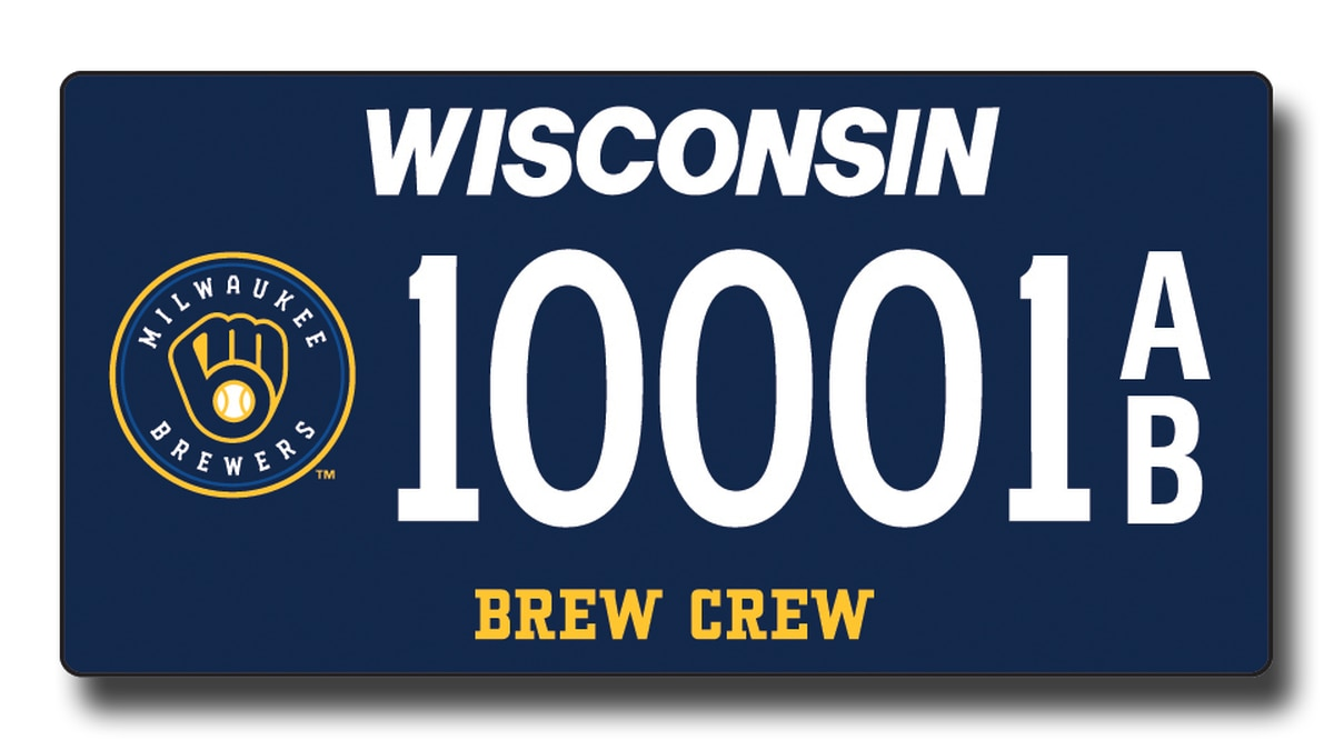 The Dept. of Motor Vehicles unveils two new designs for its Brewers specialty license plates.