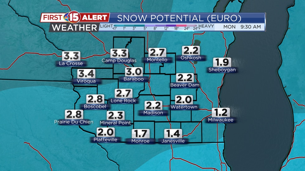 2 to 4 inches of snow is expected across southern Wisconsin. Most of it will fall Saturday...
