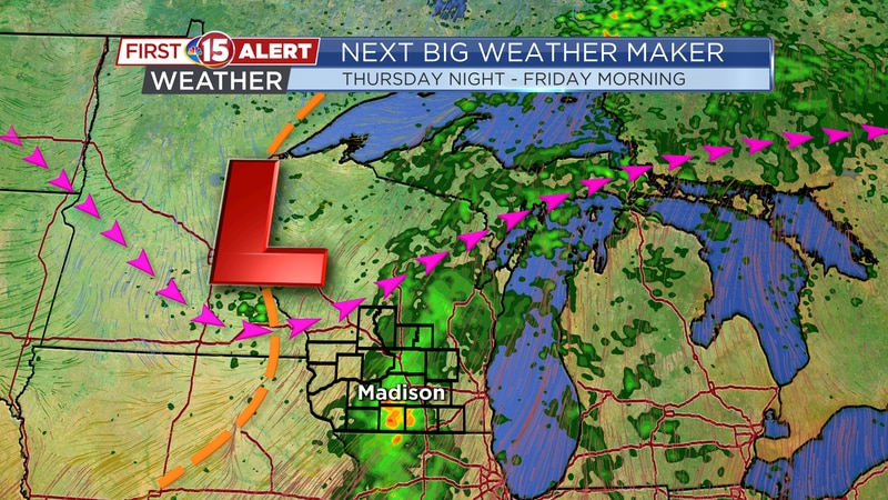 Next Big Weather Maker - Scattered rain showers and storms Thursday night - Friday morning