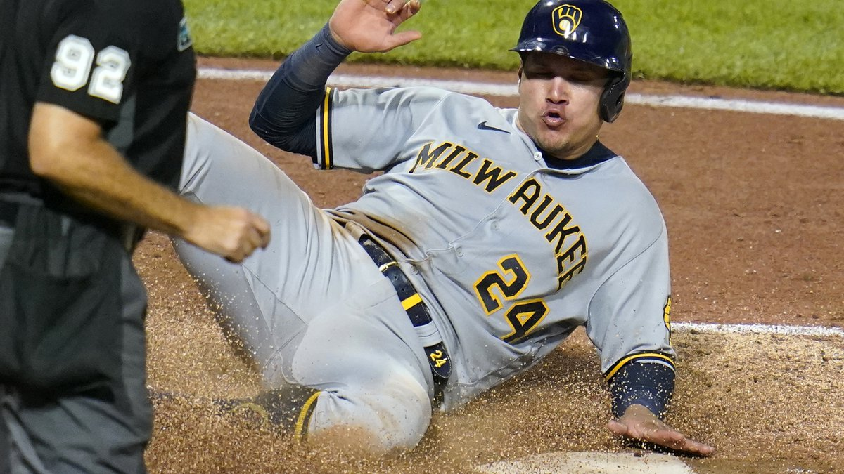 Milwaukee Brewers' Avisail Garcia scores on a single by Tyrone Taylor off Pittsburgh Pirates...
