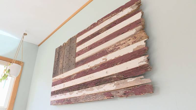 Jeremiah Logemann creates flags and other pieces of art out of reclaimed barnwood.