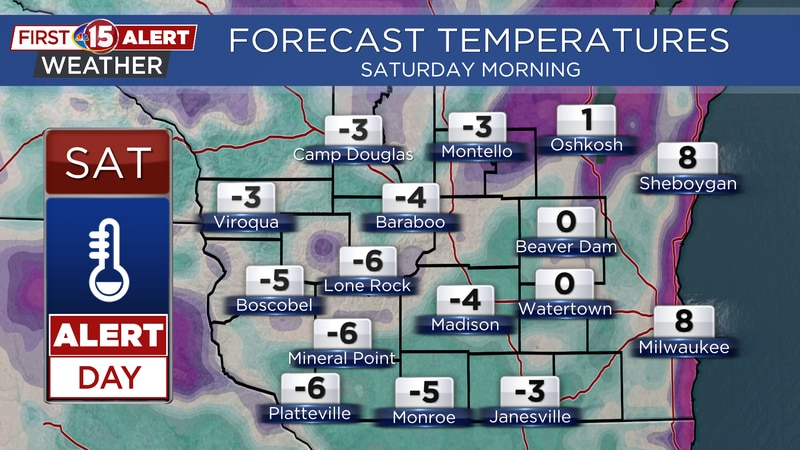 Alert Day - Subzero temperatures Saturday morning
