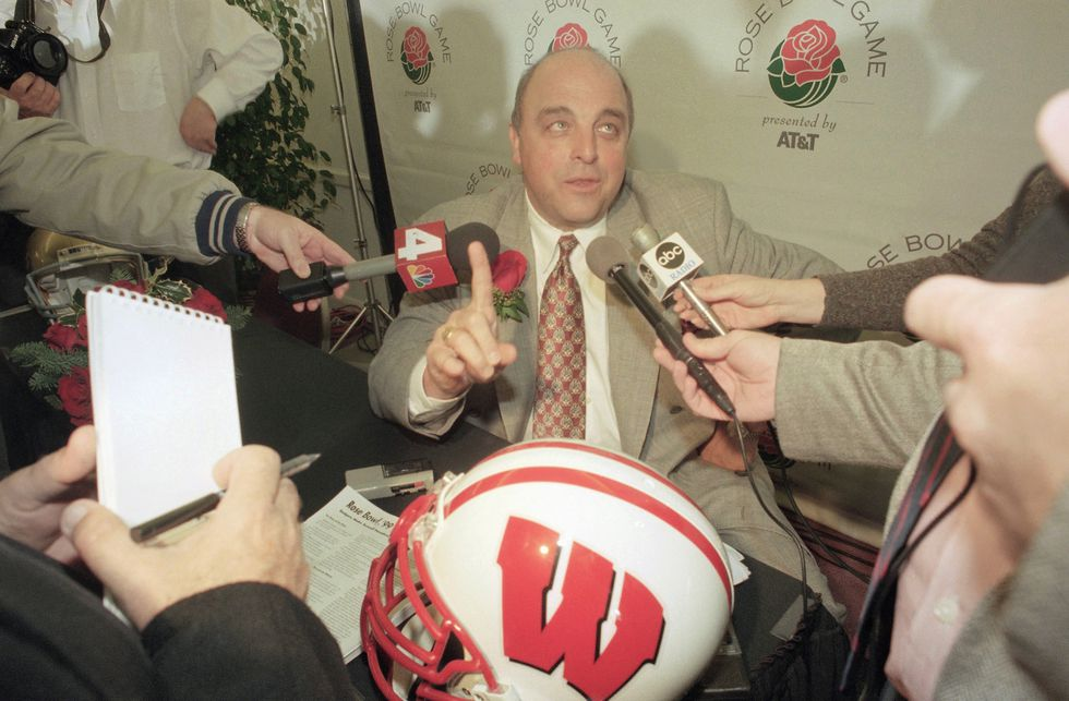 Wisconsin head coach Barry Alvarez speaks to reporters during a coaches news conference,...