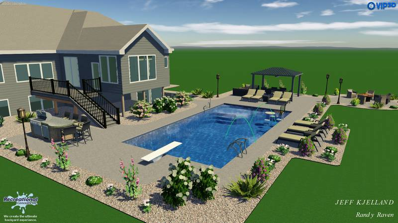 Recreational Concepts creates rendering for a backyard pool design.
