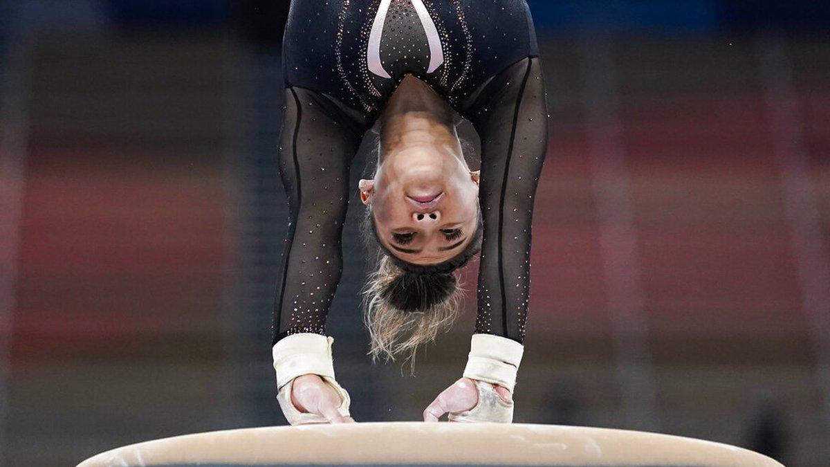 Sunisa Lee of the United States trains on vault for artistic gymnastics at Ariake Gymnastics...
