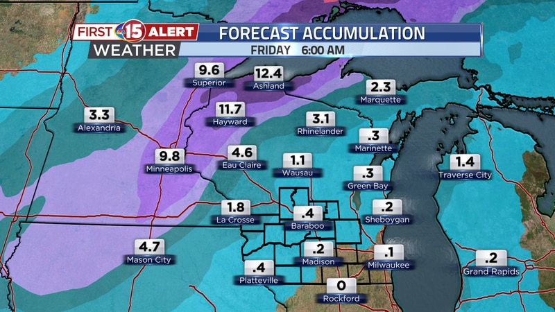 Heavy snow will be seen to the northwest today and tonight. Local totals could approach a foot....