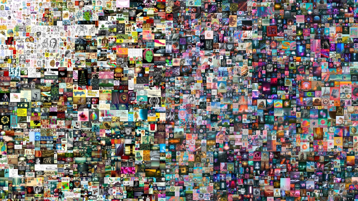 This undated photo released by Christie's on Thursday, March 11, 2021 shows a digital collage...