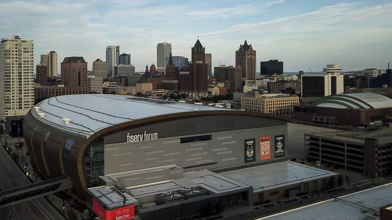 The Fiserv Forum is seen Wednesday, July 29, 2020, in Milwaukee. (AP Photo/Morry Gash)
