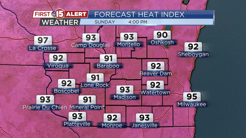 Forecast Heat Index Sunday 4PM