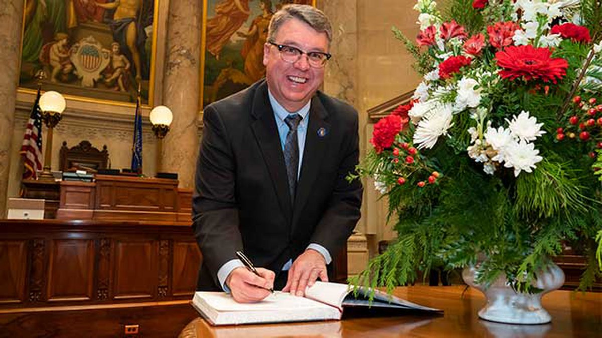 State Sen. Brad Pfaff is inaugurated to the Wisconsin legislature.
